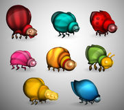 Set of multicolor beetles Royalty Free Stock Image