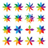 Set of multicolor flowers Royalty Free Stock Photography
