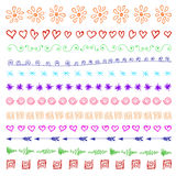Set of multicolor hand drawn vintage design elements. Set of multicolor hand drawn vintage design elements isolated on white Royalty Free Stock Image