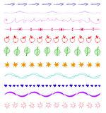 Set of multicolor hand-drawn vintage design elements. Set of multicolor hand-drawn vintage design elements isolated on white Stock Photo