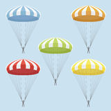 Set of multicolor parachutes. Vector set of blue, red, yellow, orange and green  parachutes Royalty Free Stock Images
