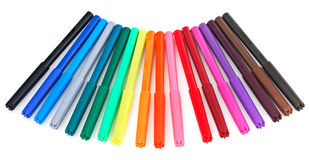 Set of multicolor soft-tip pens Royalty Free Stock Photos