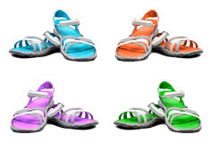 Set of multicolor summer sandals Stock Images