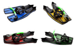 Set of multicolor swim fins, mask and snorkel for diving on whit Royalty Free Stock Photography