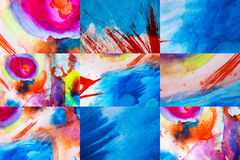 Set of multicolor watercolor background for textures. Set of multicolor hand drawn watercolor background for backgrounds or textures Stock Photo
