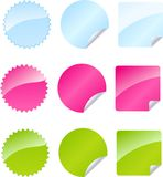 Set of multicolored badges. In three color Stock Images