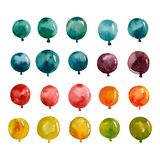 Set of multicolored balloons yellow blue green stock illustration