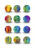 A set of multicolored balls in doodle design and shadow Royalty Free Stock Photos