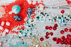 Set of multicolored beads. Selective focus royalty free stock photos