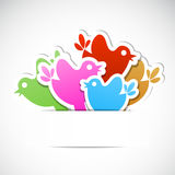 Set of multicolored birds with frame for message. Royalty Free Stock Photography
