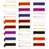 Set of multicolored bookmark. Set of 24 decorative multicolored bookmarks with gold and silver borders Royalty Free Stock Images