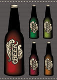 Set of multicolored bottles of beer with label Stock Images