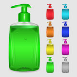 Set of multicolored bottles of liquid soap Royalty Free Stock Photography