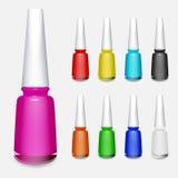 Set of multicolored bottles of nail polish Stock Photography