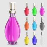 Set of multicolored bottles of perfume Stock Photo
