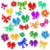 Set of multicolored bows. Flat design Stock Photos