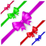 Set of multicolored bows Stock Photos