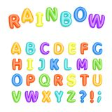 Set of multicolored bright kids letters. Childrens font in the cartoon style. Vector illustration vector illustration
