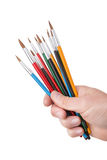Set of multicolored brushes in hand. Stock Photography