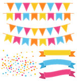 Set of Multicolored Buntings Garlands Flags Confetti and Ribbons. Isolated on White Background Royalty Free Stock Image