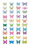 Set of multicolored butterflies Royalty Free Stock Photo