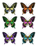 Set of multicolored butterflies on a white background, a collection of butterflies. Vector illustration. Royalty Free Stock Photography