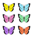 Set of multicolored butterflies on a white background, a collection of butterflies. Vector illustration Stock Photo
