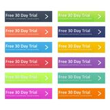 Set of multicolored button for website design. Free trial day.. No long term commitments, cancel anytime. Vector flat Royalty Free Stock Photography