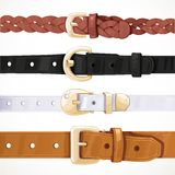 Set of multicolored buttoned to buckle belts Stock Photos