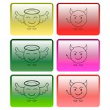Set of multicolored buttons with the image of an angel and a demon. Vector graphics royalty free stock image