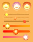Set of multicolored buttons and varios sliders. Royalty Free Stock Image