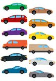 Set of multicolored car. Isolated vector illustration Stock Photo