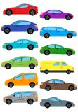 Set of multicolored car. Isolated vector illustration Royalty Free Stock Photo