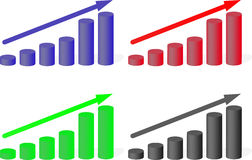 Set of multicolored charts growth. Diagram gain, finance up, flat design,  illustration Royalty Free Stock Photography