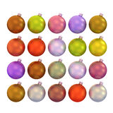 Set of multicolored Christmas balls 3d. Isolated on a white Royalty Free Stock Photos