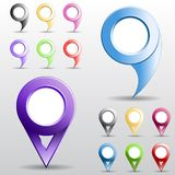 Set of multicolored circle pointers. Stock Images
