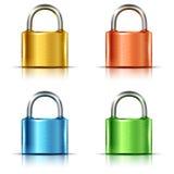 Set of multicolored closed padlocks Royalty Free Stock Photos