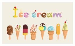 Set of multicolored cute ice cream. Stock Image