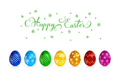 Set of multicolored decorative Easter eggs Stock Photo