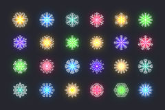 Set 24 multicolored different snowflakes of handmade with long shadow Royalty Free Stock Photos