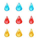 Set of multicolored droplets isolated on white background Stock Photo