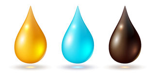 Set of multicolored drops. Isolated on white, vector icons Stock Image