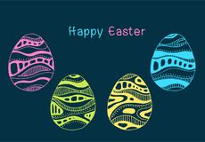 Set of multicolored Easter eggs with different texture, pink yellow green azure colour on a dark blue background.Spring holiday. Vector Illustration.Happy Royalty Free Stock Photo