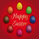 Set multicolored Easter eggs on a red background Stock Photos