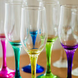 Set of multicolored empty glasses.  Royalty Free Stock Images