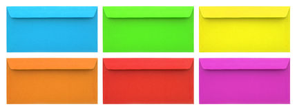 Set of multicolored envelopes Stock Photography