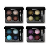 Set of MultiColored Eye Shadows in Case Applicator. Vector Set of Round MultiColored Pastel Light Brown Cream Ocher Olive Yellow Green Bright Blue Turquoise Pink Royalty Free Stock Photography