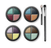 Set of MultiColored Eye Shadows and Makeup Brushes Stock Image