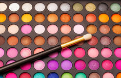 Set of Multicolored Eyeshadows with Brush Royalty Free Stock Image