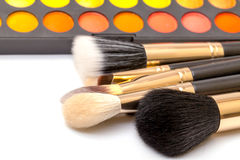 Set of Multicolored Eyeshadows with Brushes Royalty Free Stock Image